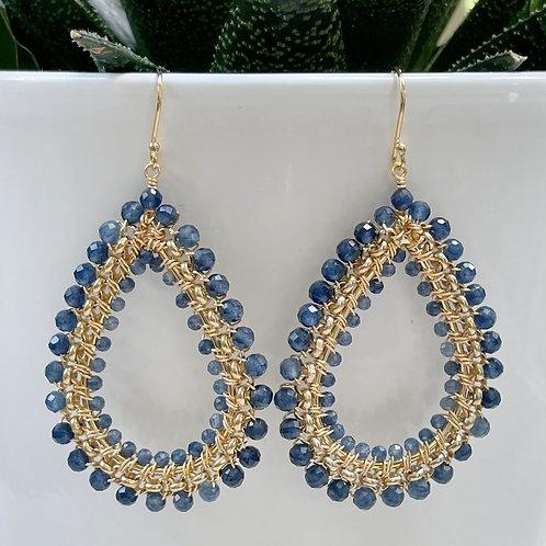 Denim Blue Iolite Large Rolo Teardrop Beaded Earrings