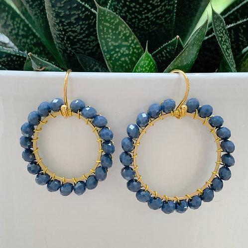 Denim Round Beaded Earrings