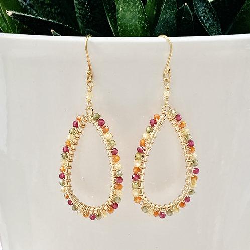 Pink, Orange, Yellow & Green Ombré Teardrop Beaded Earrings