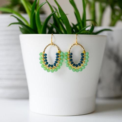 Mint Green & Oxford Blue Beaded 3/4 Oval Earrings