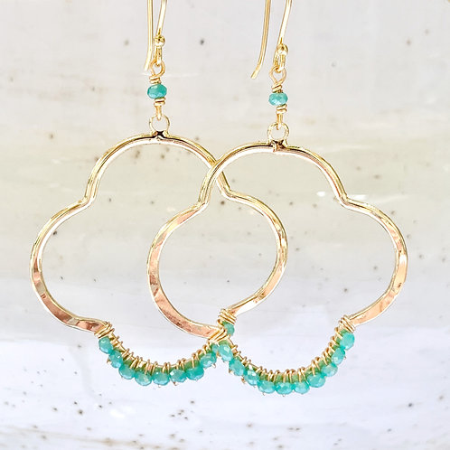 Turquoise Crystal Clover Earrings