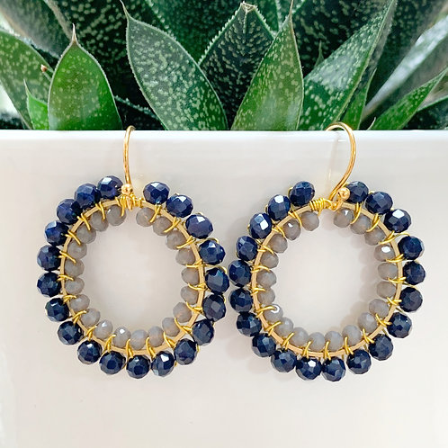 Midnight Blue & Grey Double Beaded Round Earrings