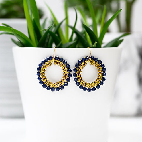 Midnight Blue & Bronze Double Beaded Round Earrings