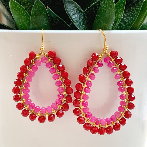 Ruby Red & Candy Pink Double Beaded Teardrop Earrings