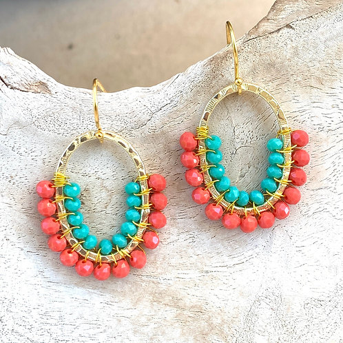 Coral & Turquoise Double Beaded 3/4 Oval Earrings