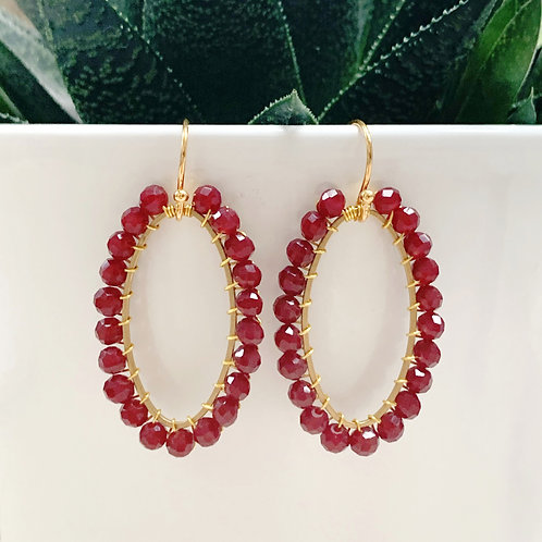 Burgundy Oval Earrings