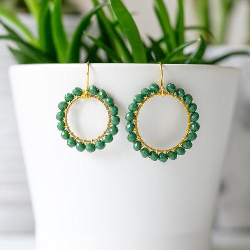 Evergreen Round Beaded Earrings