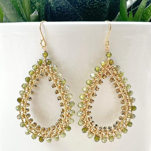 Olive Green Peridot Rolo Teardrop Beaded Earrings