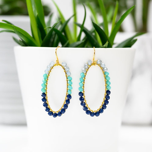 Grey, Turquoise & Oxford Blue Oval Beaded Earrings