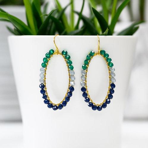 Teal, Grey & Oxford Blue Oval Beaded Earrings