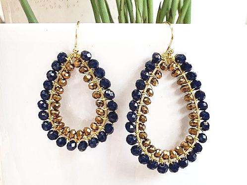Midnight Blue & Bronze Double Beaded Teardrop Earrings