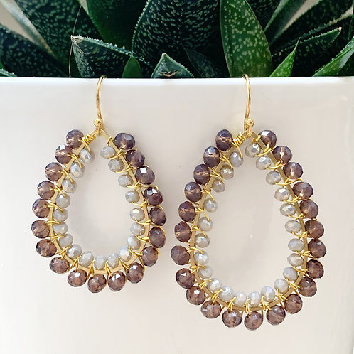 Dark Taupe & Sparkly Grey Double Beaded Teardrop Earrings