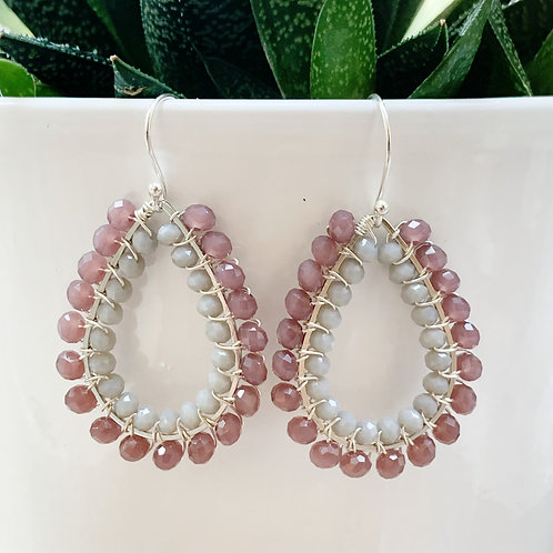 Dusky Pink & Grey Double Beaded Teardrop Earrings (Silver)
