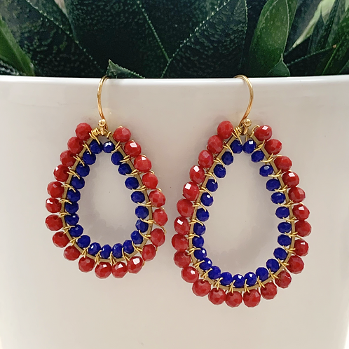 Ruby Red & Electric Blue Double Beaded Teardrop Earrings