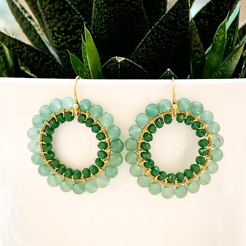 Aventurine & Evergreen Round Double Beaded Earrings