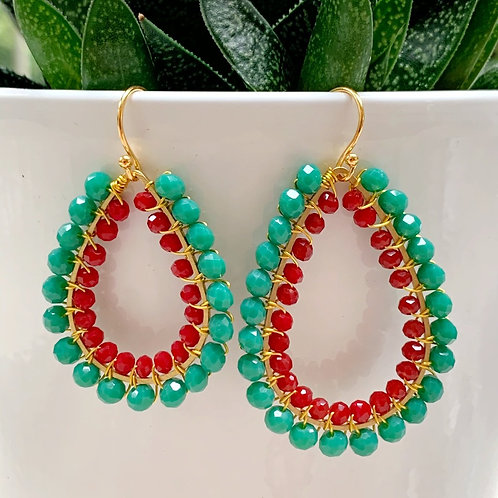 Seafoam & Ruby Red Double Beaded Teardrop Earrings