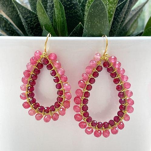 Candy Pink Jade & Ruby Pink Jade Double Beaded Teardrop Earrings