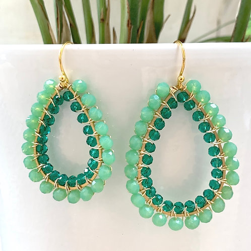 Mint Green & Teal Double Beaded Teardrop Earrings
