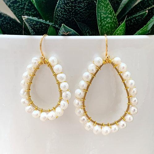 Freshwater Pearl Teardrop Beaded Earrings (Large Pearls)
