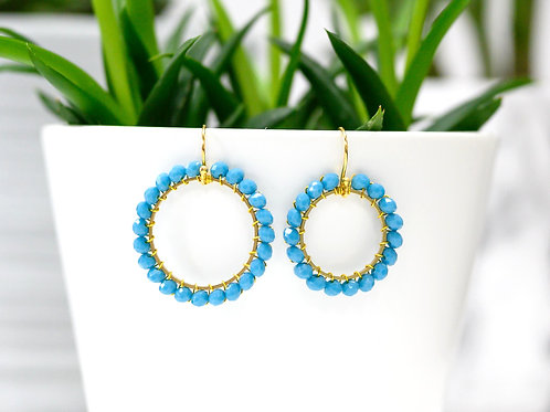 Sky Blue Round Beaded Earrings