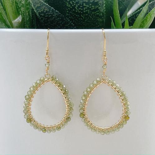 Dark Olive Green Peridot Peardrop Beaded Earrings
