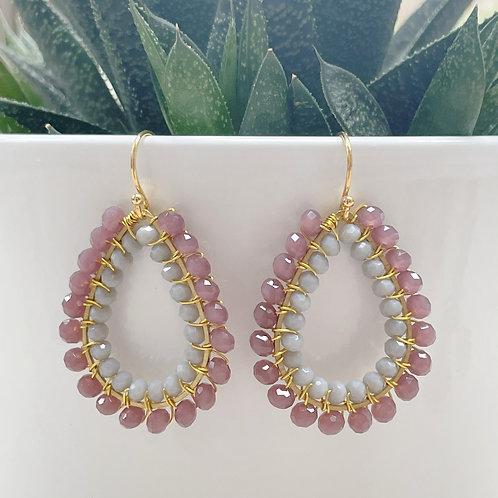 Dusky Pink & Grey Double Beaded Teardrop Earrings