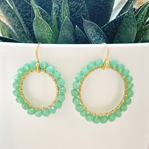 Sparkly Mint Green Round Beaded Earrings