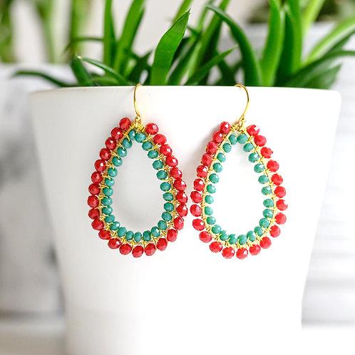 Ruby Red & Turquoise Double Beaded Teardrop Earrings