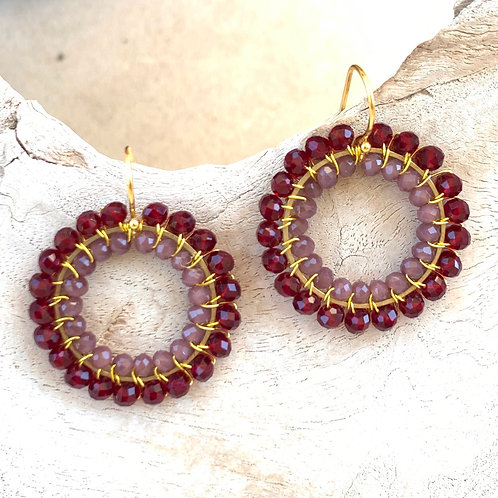 Burgundy Red & Dusky Pink Double Beaded Round Earrings