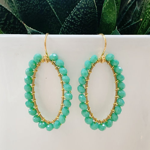 Seafoam Oval Beaded Earrings