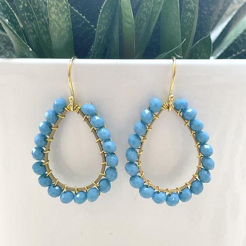Sky Blue Teardrop Beaded Earrings