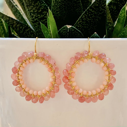 Candy Pink Jade & Coral Round Double Beaded Earrings