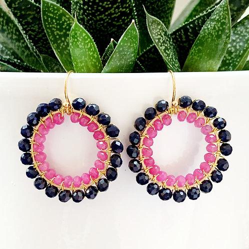 Midnight Blue & Pink Jade Beaded Round Earrings