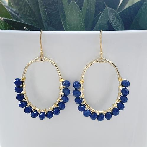 Oxford Blue 3/4 Oval Earrings
