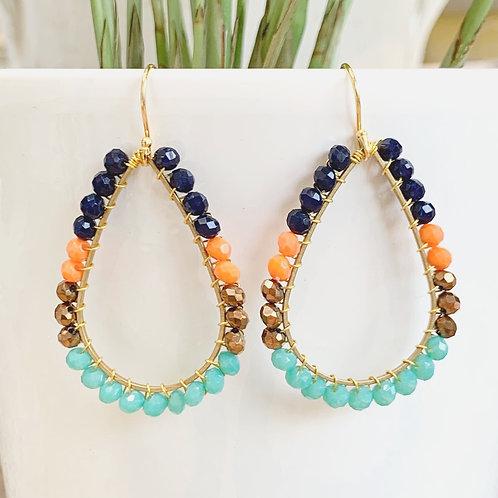 Oxford Blue, Orange, Bronze & Turquoise Teardrop Beaded Earrings