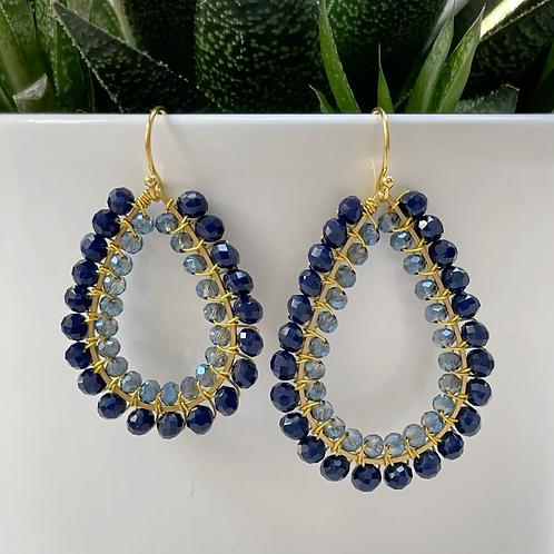 Midnight Blue & Translucent Grey Double Beaded Teardrop Earrings