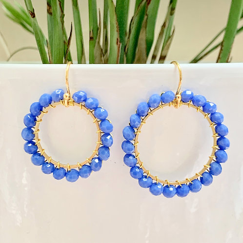 Cornflower Blue Round Beaded Earrings