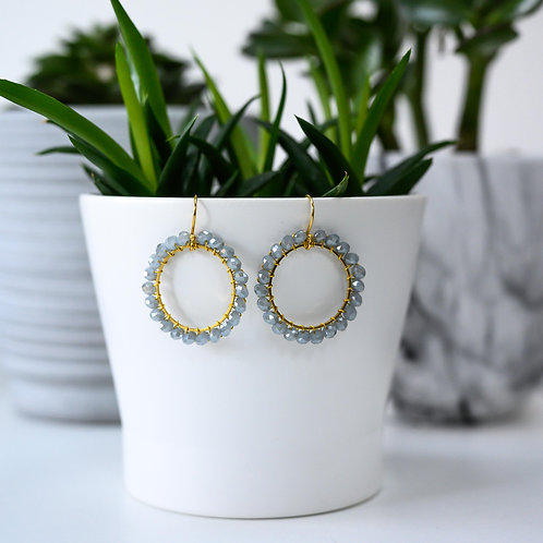 Grey Round Beaded Earrings