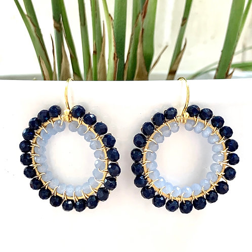 Midnight Blue & Pale Blue Double Beaded Round Earrings