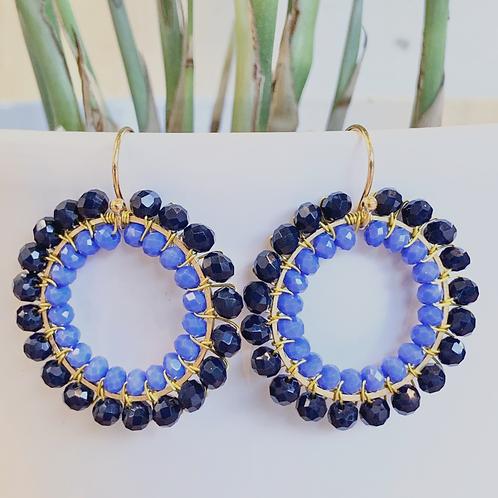 Midnight Blue & cornflower Blue Round Double Beaded Earrings