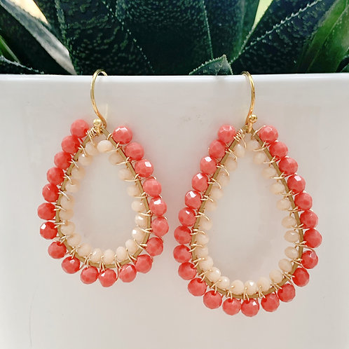Coral & Pale Peach Double Beaded Teardrop Earrings