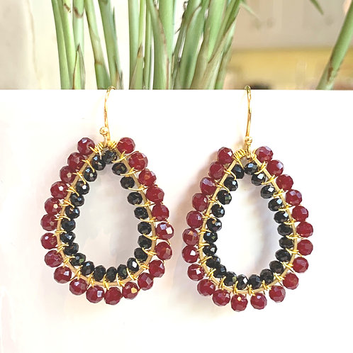 Burgundy & Black Double Beaded Teardrop Earrings