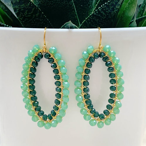 Mint Green & Emerald Green Double Beaded Oval Earrings