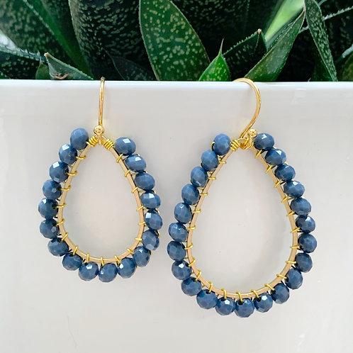 Denim Blue Teardrop Beaded Earrings