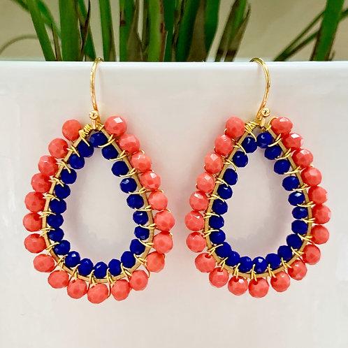 Coral & Electric Blue Double Beaded Teardrop Earrings