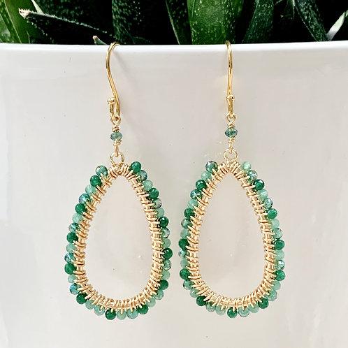 Green Ombré Teardrop Beaded Earrings