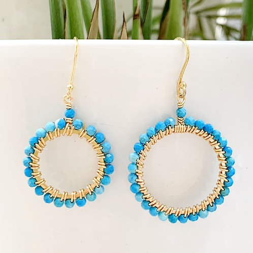 Turquoise Round Beaded Earrings