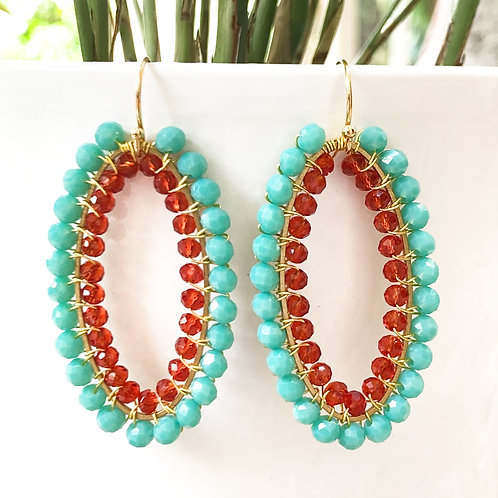 Turquoise & Ruby Red Double Beaded Oval Earrings