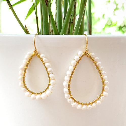 Freshwater Pearl Teardrop Beaded Earrings (Medium Pearls)