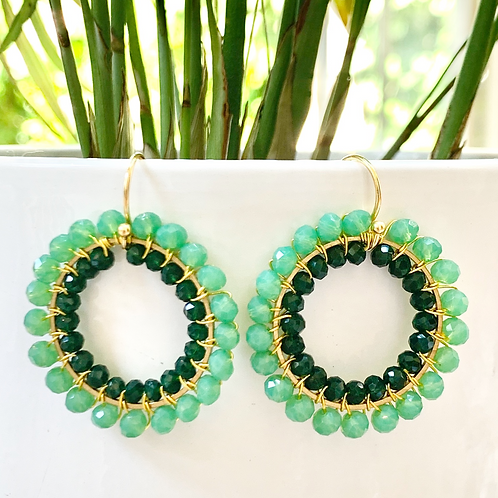 Sparkly Mint Green & Emerald Green Double Beaded Round Earrings